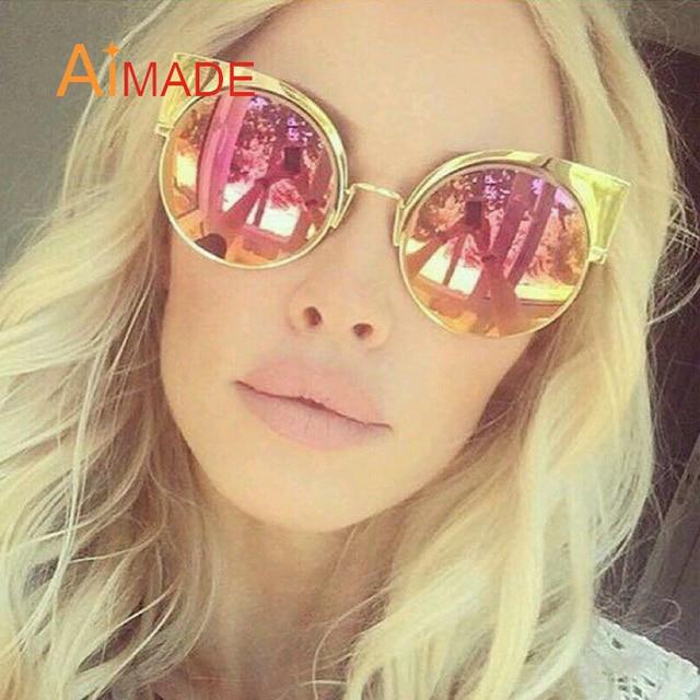 d977115a01 Aimade nueva moda Oversized gato ojo gafas de sol mujer de lujo marca  diseñador gran ronda