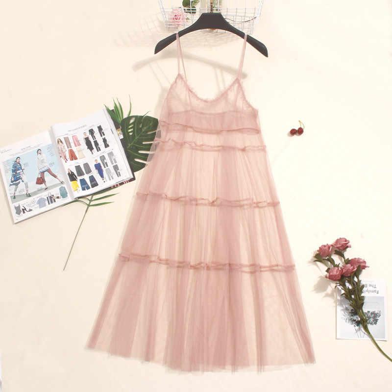 2018 סתיו ארוך קיץ שמלת נשים רשת שמלה סקסית תחרה ספגטי רצועת שמלות גבירותיי מקסי גזה שמלה קיצית Vestidos A1024