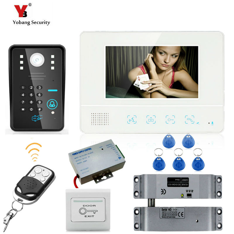 """Yobang Security freeship 7""""Inch Video Door Phone Doorbell Home Security Video intercom Wired for House  Doorbell Night Vision