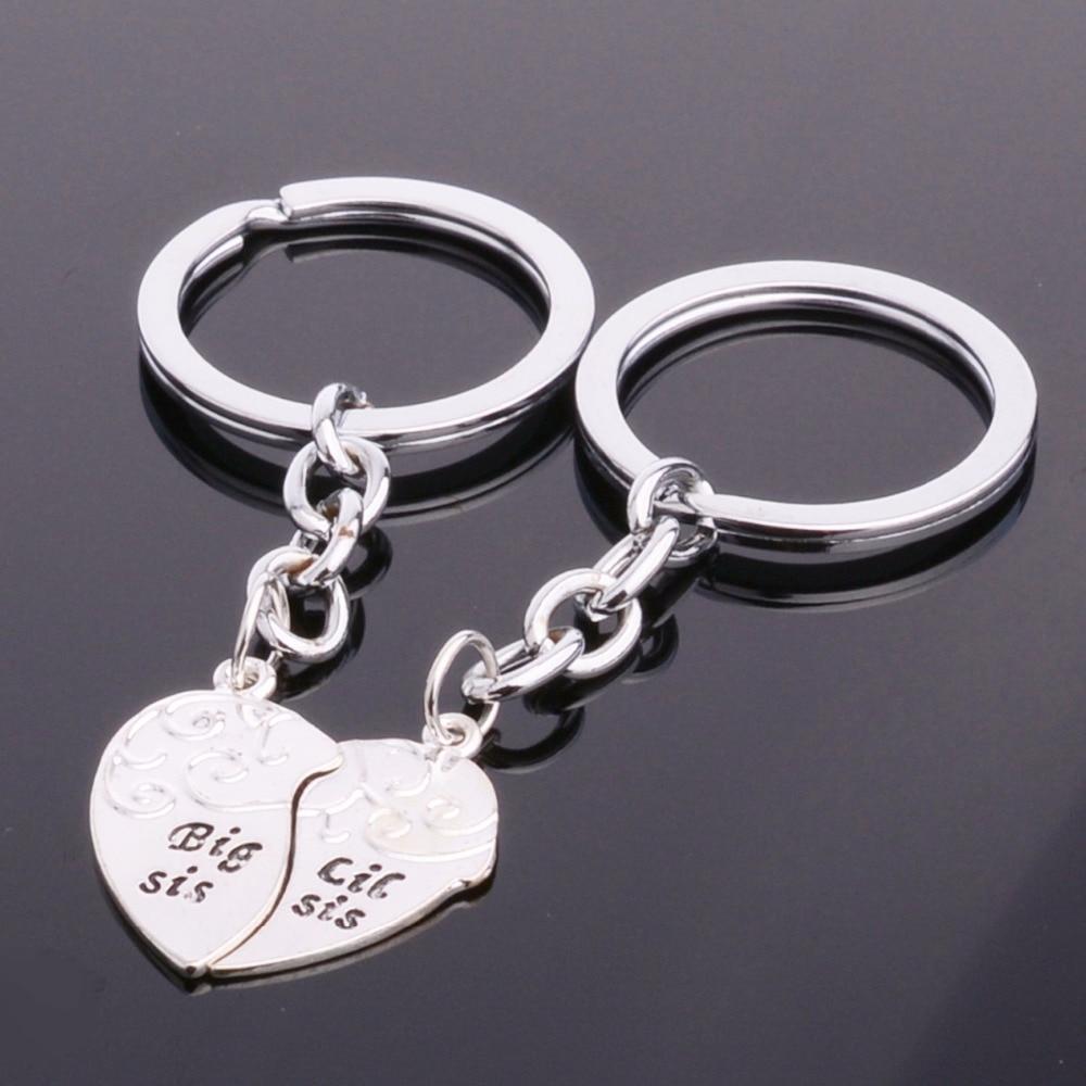 Bespmosp 12PC/Lot Broken Heart Love 2PC/Set Big Little Sister Keychain Best Friends Gifts Sis Women Keyring Family Jewelry BFF