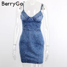 BerryGo Sexy backless denim dress shirt Women vintage bodycon summer dress Beach party short dresses Casual blue slip vestidos