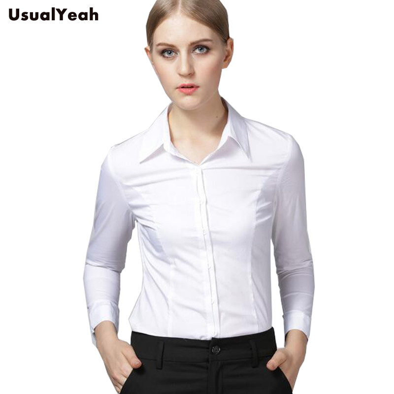 1d25ea8b4 New 2018 Women Body Shirt Slim Fit Turn-down Collar Formal Long Sleeve  White Shirts Office Blouses For Work Wear SY0283 S-XXL