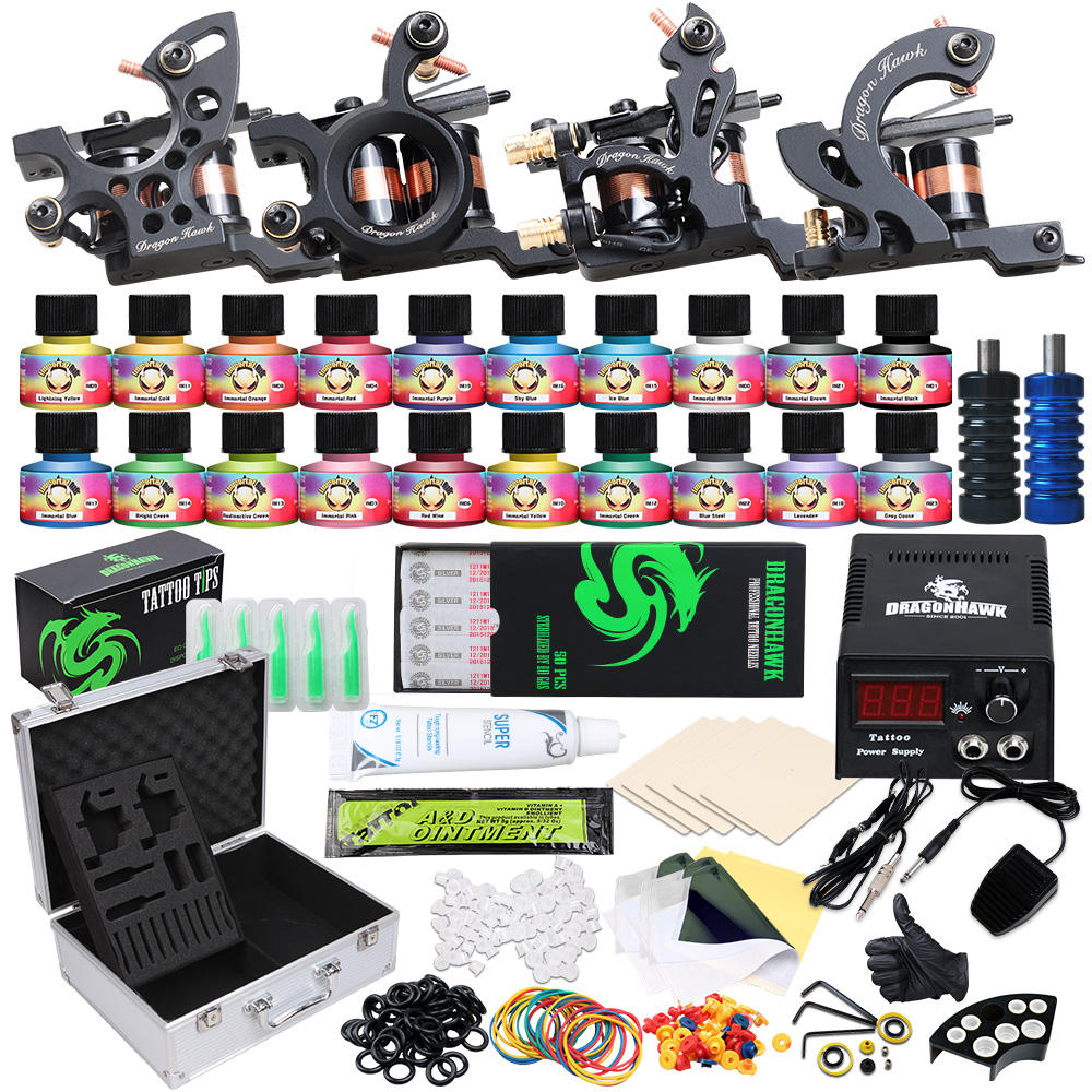 Principiante Tattoo Kit Completo di Forniture di 4 Mitragliatrici 20 USA Inchiostri A colori Power supply Aghi Grip Tip Set in Scatola d3020Principiante Tattoo Kit Completo di Forniture di 4 Mitragliatrici 20 USA Inchiostri A colori Power supply Aghi Grip Tip Set in Scatola d3020