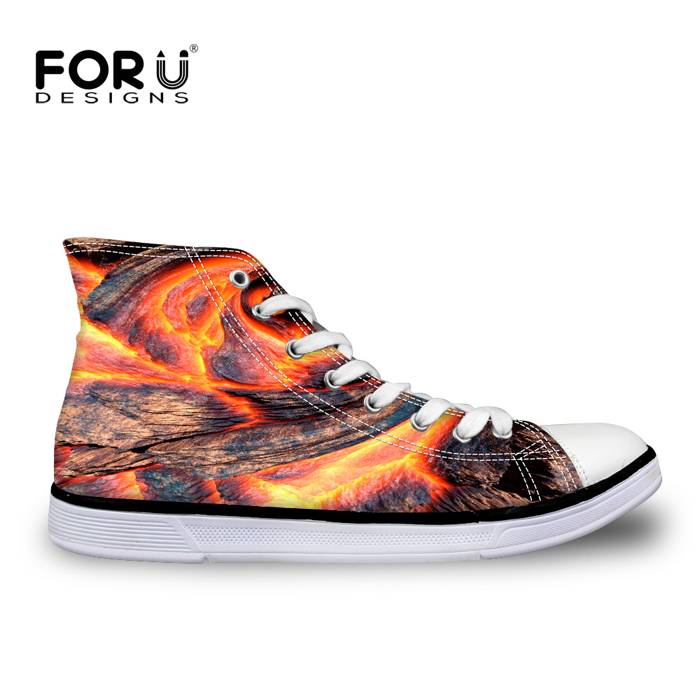 ФОТО FORUDESIGNS Men Canva Shoes Casual Platform Canva Shoes Flame Print High Ankle Shoes Male Leisure Shoes Lacing Zapatos