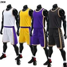 ZMSM Детский комплект баскетбольной Джерси для взрослых, Мужская баскетбольная форма, тренировочный жилет, шорты с двумя карманами, детская спортивная одежда JY821