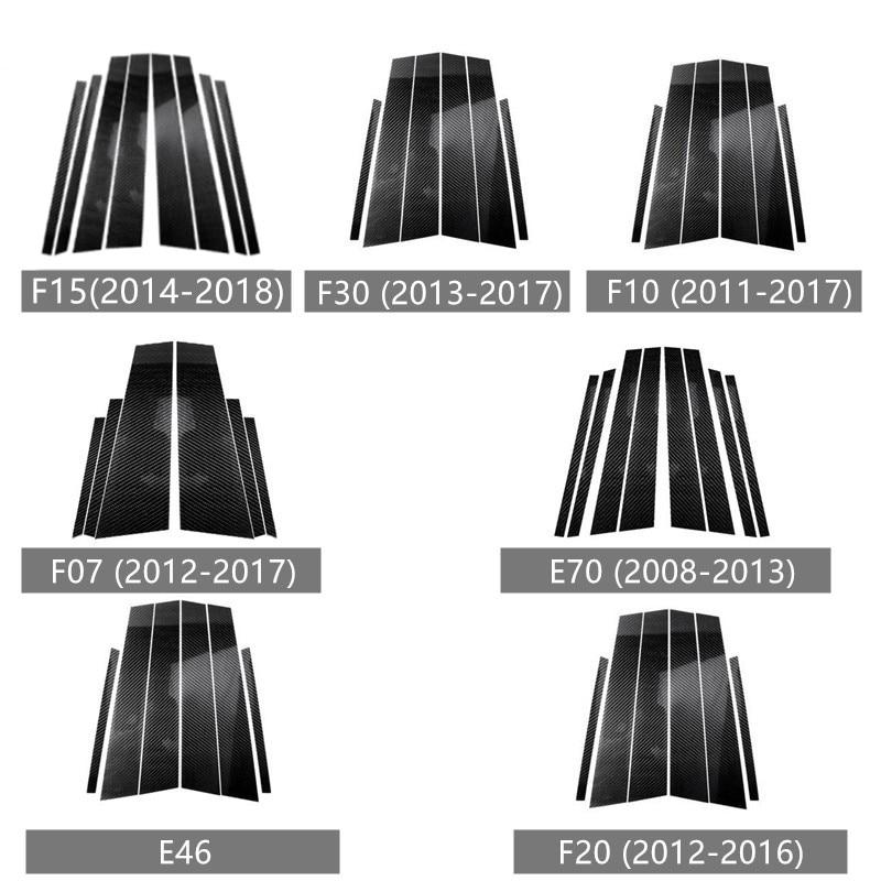 Car Styling Door Window B-pillars Decorative Cover Trim Stickers Carbon Fiber For BMW X5 E70 X1 E84 F48 Exterior Accessories