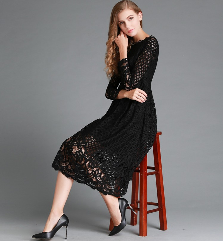 new mama style white and black solid o neck sexy new dress knee length lace slim fashion comfortable female dress in Dresses from Women 39 s Clothing