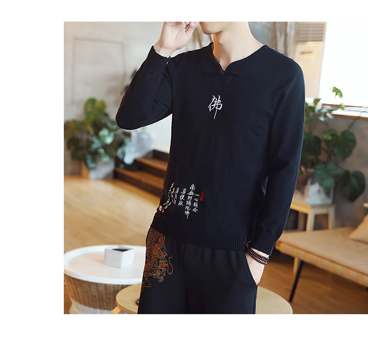 Chinese style Buddha embroidery Pull Homme Pullover Men spring autumn Casual sweater knit leisure Jersey Hombre Cotton v-neck 68