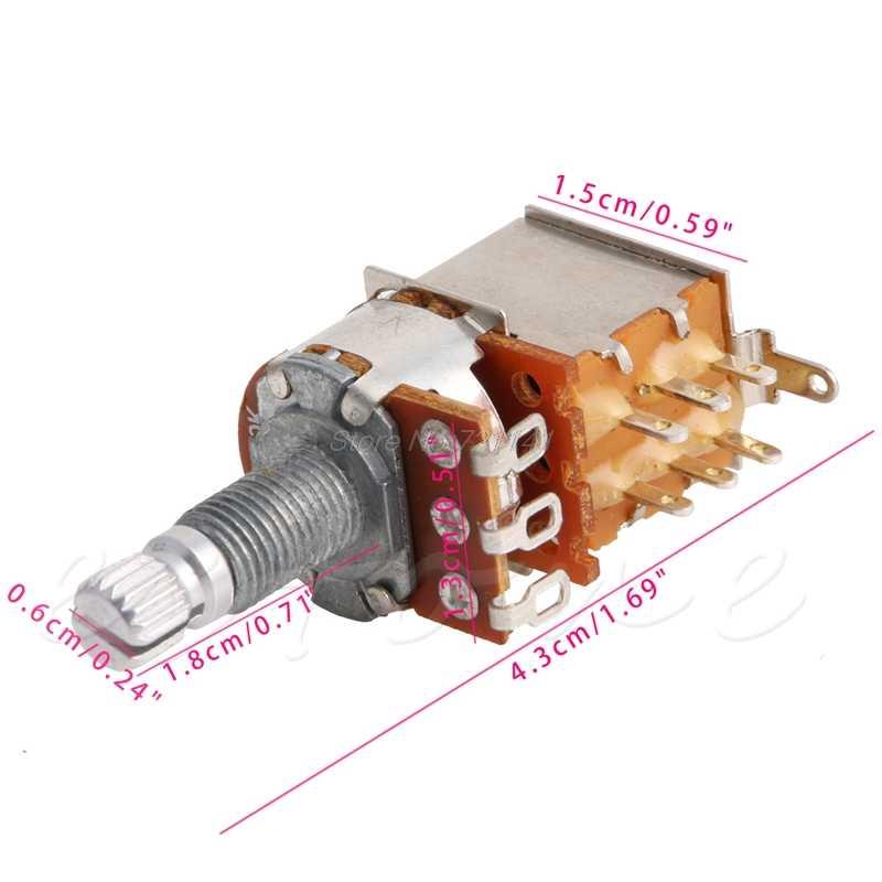 A500K potenciómetro interruptor de empuje y tire estriado DPDT olla Shaft18mm guitarra eléctrica tono volumen partes de guitarra y accesorios