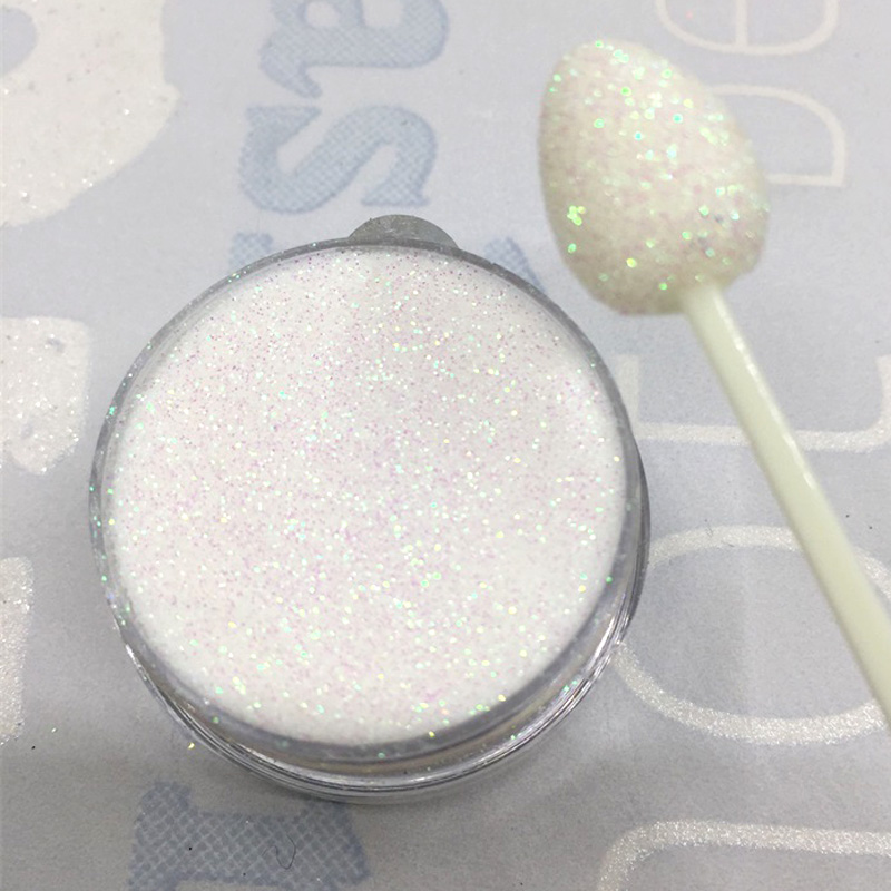 Iridescent Nail Powder Blue: White Iridescent Colorful Transparent Rainbow Nail Glitter