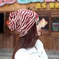 2016 Hot Sale Multifunctional Scarf Cap Autumn Warm Winter Hat Knitted Xiannv All-match Zebra Stripe Women Beanie Bonnet Enfant