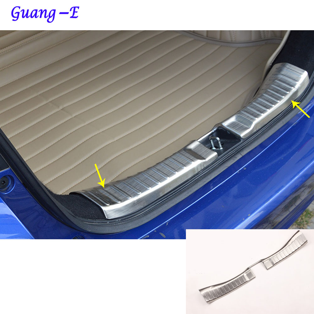For Honda Fit jazz 2014 2015 2016 2017 car body cover protection Bumper pedal trim rear back tail threshold trunk moulding 1pcs car rear trunk security shield cargo cover for honda fit jazz 2014 2015 2016 2017 high qualit black beige auto accessories