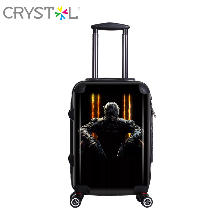 CRYSTL 20inch both sides luggage suitcase made of ABS+PC with spinner wheels and hardside for unisex,strong and safe
