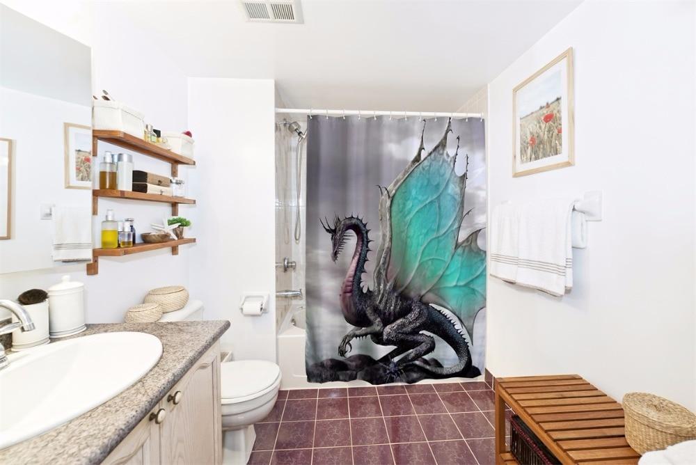 Gordijnen Voor Badkamer : Draak badkamer douchegordijnen waterdicht polyester bad gordijnen