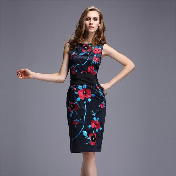 2014 Fall New Style Women Fashion Classic Embroidery Elegant Vintage Sleeveless Floral Flower