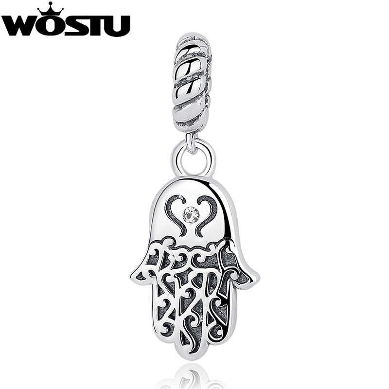 100% 925 Sterling Silver Lucky Hamsa Palm Charm Beads Fit Original WST Charm Bracelet Pendant Authentic DIY Jewelry CQC031