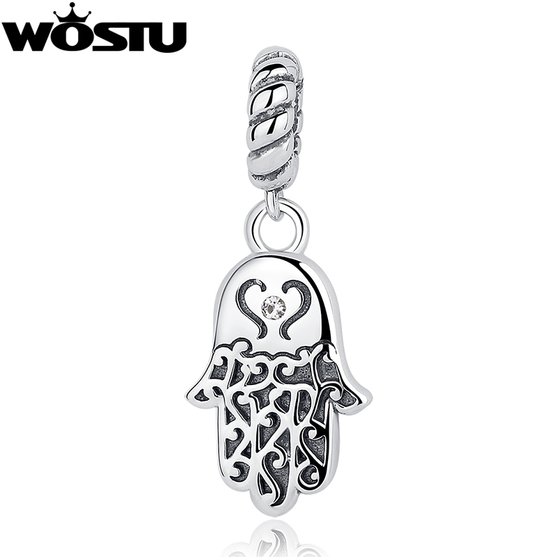 100% 925 Sterling Silver Lucky Hamsa Palm Charm Beads Fit Original WST Charm Bracelet Pendant Authentic DIY Jewelry CQC031 new baby princess infant wedding dress girl for girls children clothing dresses summer toddler kids girl party for girls clothes