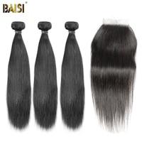 BAISI 3 Bundles with Closure Brazilian Straight 8A Virgin Hair Weave Nature 1B 100% Human Hair Extension 10 28inch Free Shipping
