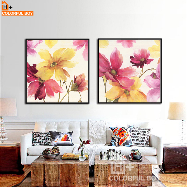 Colorfulboy modern pop art canvas painting warm home pretty flower wall art canvas posters and prints