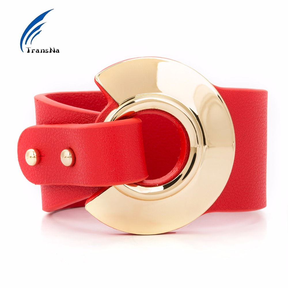 Big Red Leather Bracelet Adjustable Size Gold Color Metal All-Match Wide Leather Bracelets For Women Fashion Wristband philips she1450wt 51 white