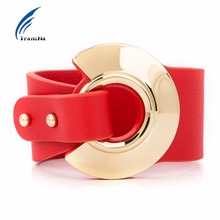 Transna Big Red Leather Bracelet Adjustable Size Gold Color Metal All-Match Wide Leather Bracelets For Women Fashion Wristband