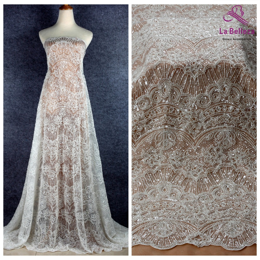 La Belleza 2019 New heavy beaded lace fabric off white beautiful wedding gown dress lace fabric 1 yardLa Belleza 2019 New heavy beaded lace fabric off white beautiful wedding gown dress lace fabric 1 yard