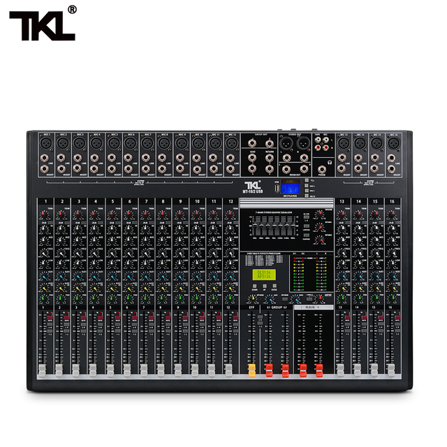 TKL 16-channel professional audio mixer with USB DJ sound mixing console Bluetooth AUX recording stage equipment