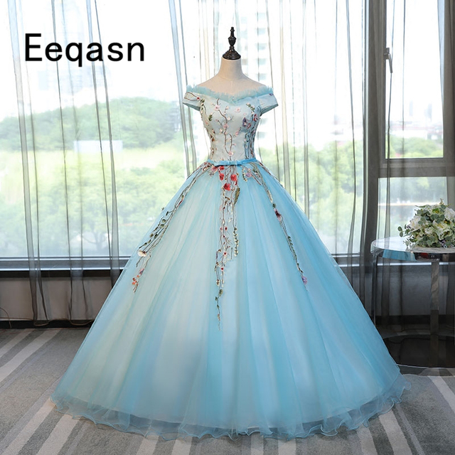 f611ef38609 Cheap Quinceanera Dresses 2018 New Short Sleeve Embroidery Floor Length  Ball Gown Off The Shoulder Prom Dress vestidos de 15