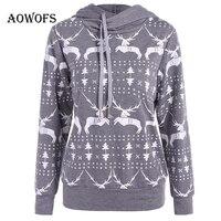 AOWOFS 2017 Gray Christmas Women Hoodies Girl Deer Print Sweatshirts Long Sleeve Pullovers Casual Winter Hoodies