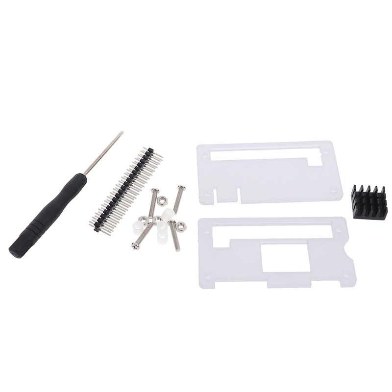 Acryl Fall 4 In 1 Kit Für Raspberry Pi Null Acryl Abdeckung Shell + Aluminium Kühlkörper + GPIO 40 pin Stecker + Schraubendreher