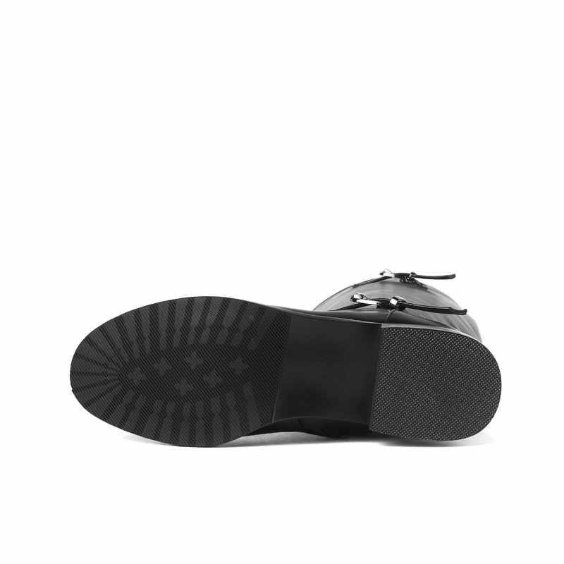 2018 frauen Winter Stiefel Flache Ferse Kniehohe Stiefel Hohe Qualität Weichen Pu Leder Mode Zipper Stiefel Schuhe Frau plus Größe 43