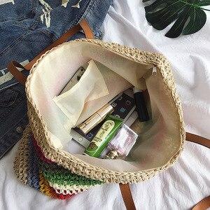 Image 4 - Женская пляжная сумка из ротанга, Плетеная соломенная сумка ручной работы, вместительная кожаная сумка тоут на плечо в богемном стиле, радужного цвета
