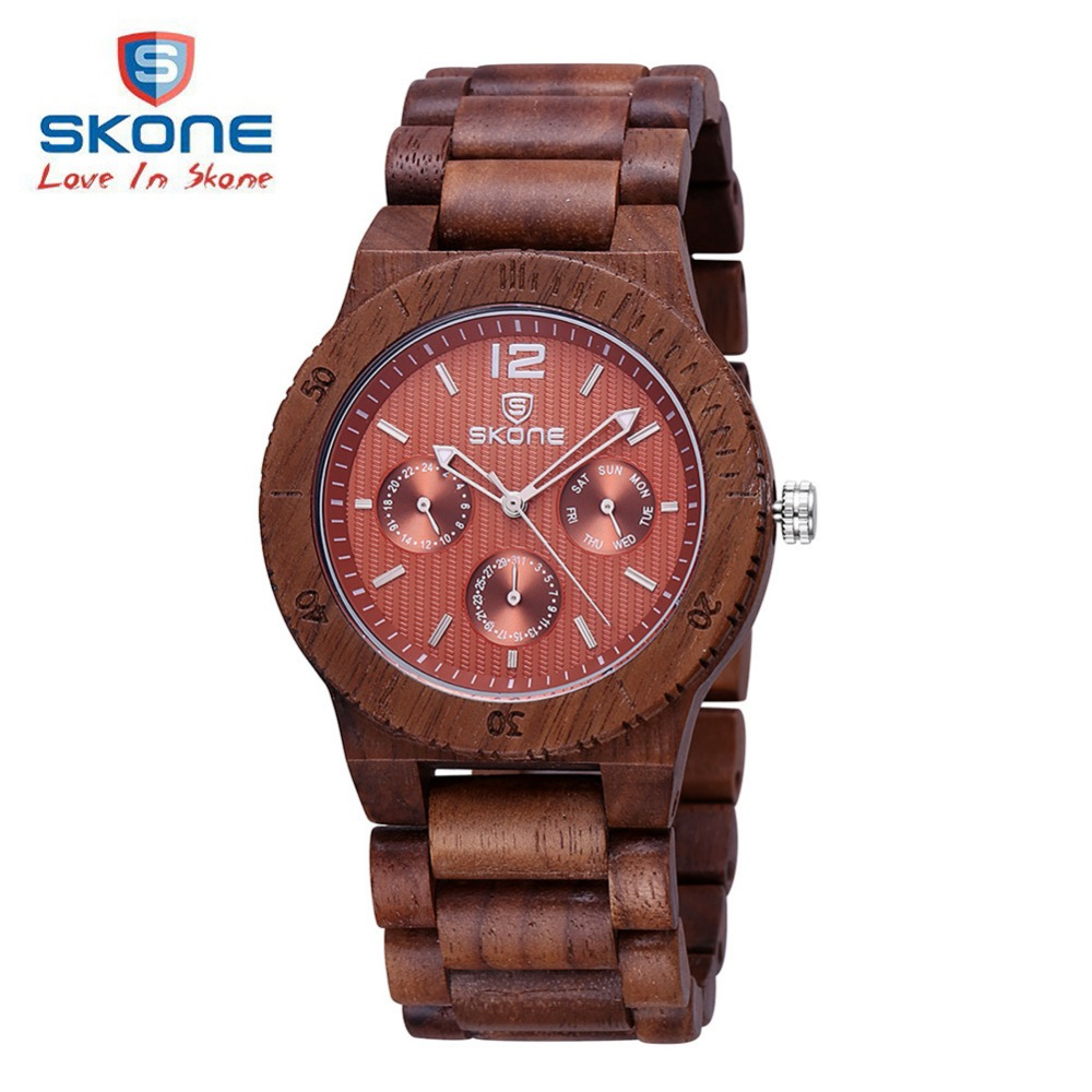 Fashion SKONE Wood Mens Quartz Watch Top Brand Luxury Wooden Men Watches Dress Clock Relogio Masculino Montre Homme Reloj Hombre mens watch top luxury brand fashion hollow clock male casual sport wristwatch men pirate skull style quartz watch reloj homber