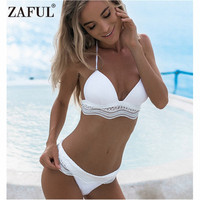 ZAFUL Bikini Swimwear Women Sexy Halter Neck Padded Spliced Lace Bikini Set Women Swimsuit Sexy Low