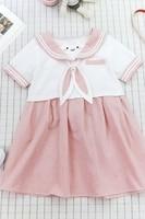 New Japanese harajuku lolita dresses sister cute bear embroidery rabbit ears tie Navy style long sleeved dress girls sweety dres