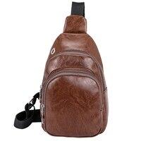 Мужская нагрудная сумка, мужская кожаная нагрудная сумка, usb-рюкзак с отверстием для наушников, функциональный органайзер для путешествий, ...