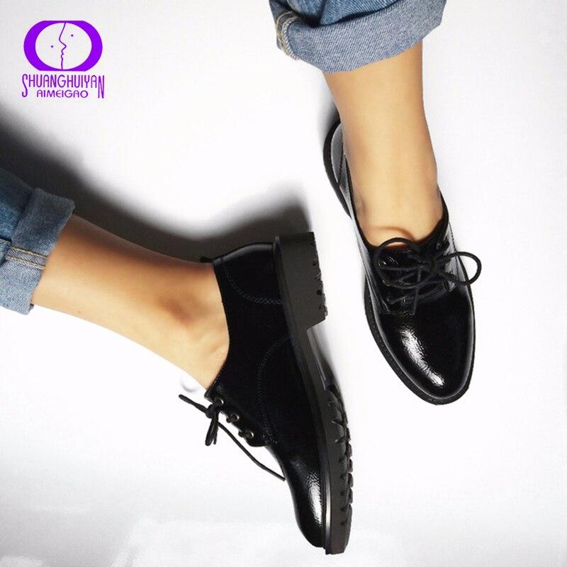 דירות נעלי אוקספורד סגנון בריטי נשים אביב חצאיות עור רך העקב שטוח נעליים מזדמנים לשרוך את נעלי רטרו נעלי נשים