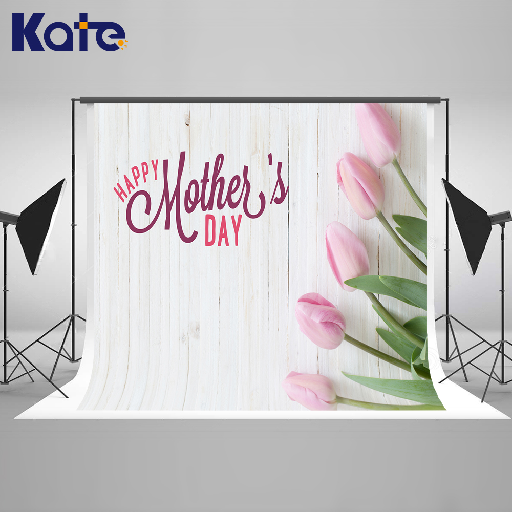 ФОТО Kate Happy Mother's Day Photography Backdrops White Flower Wood Background Spring Photography BackdropsBaby Background
