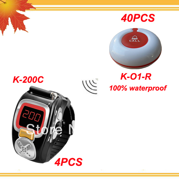 Pub bars call bell system of 4pcs alpha pagers and 40pcs 100% waterproof table buzzer free shipping free by EMS/DHL