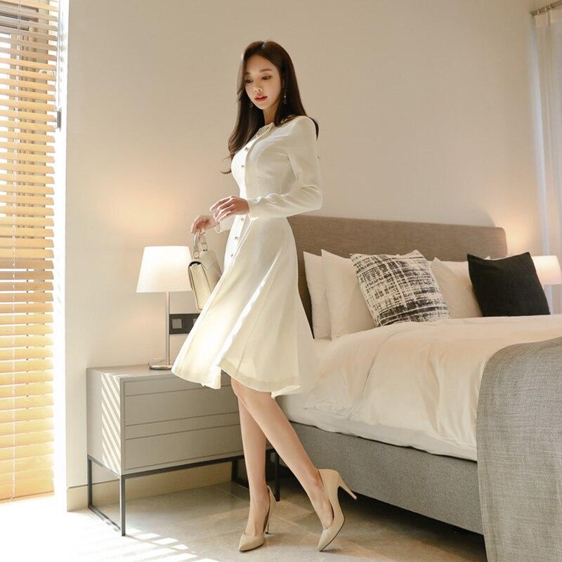 Elegant Dress Women Casual Long Sleeve Dress Office Lady Runway Designers High Fashion Dress 42