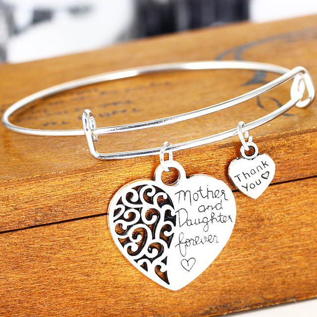 607f057dbc755 US $1.27 18% OFF|Thank You Love Heart Mother And Daughter Bangle Mothers  Day Gifts Charm Bracelet For Mom Women Jewelry Silver Plated-in Bangles  from ...