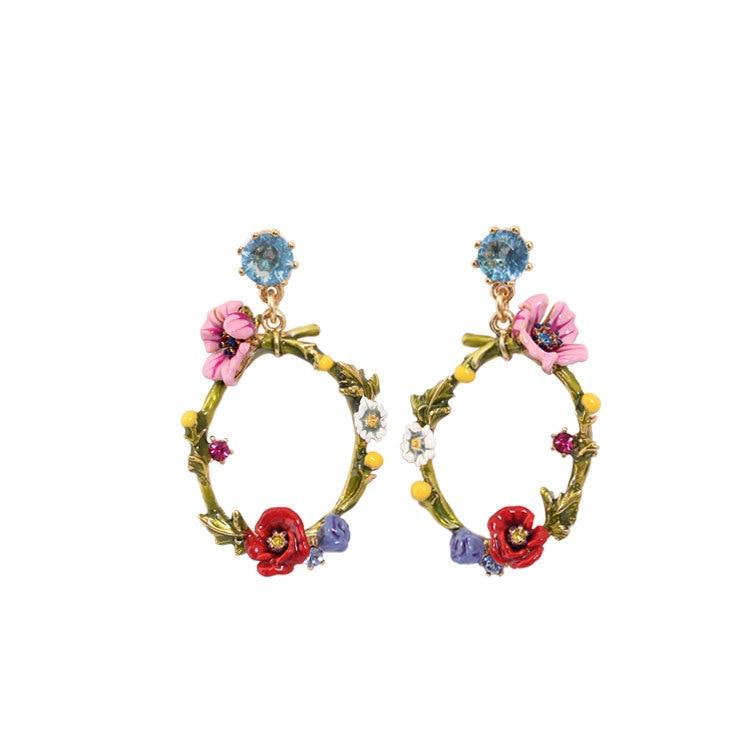 French Jewelry Paris New Flowers Series Large Circles Yu Mei Poppy Daisy Flowers Green Leaves Gem Women Stud Earrings