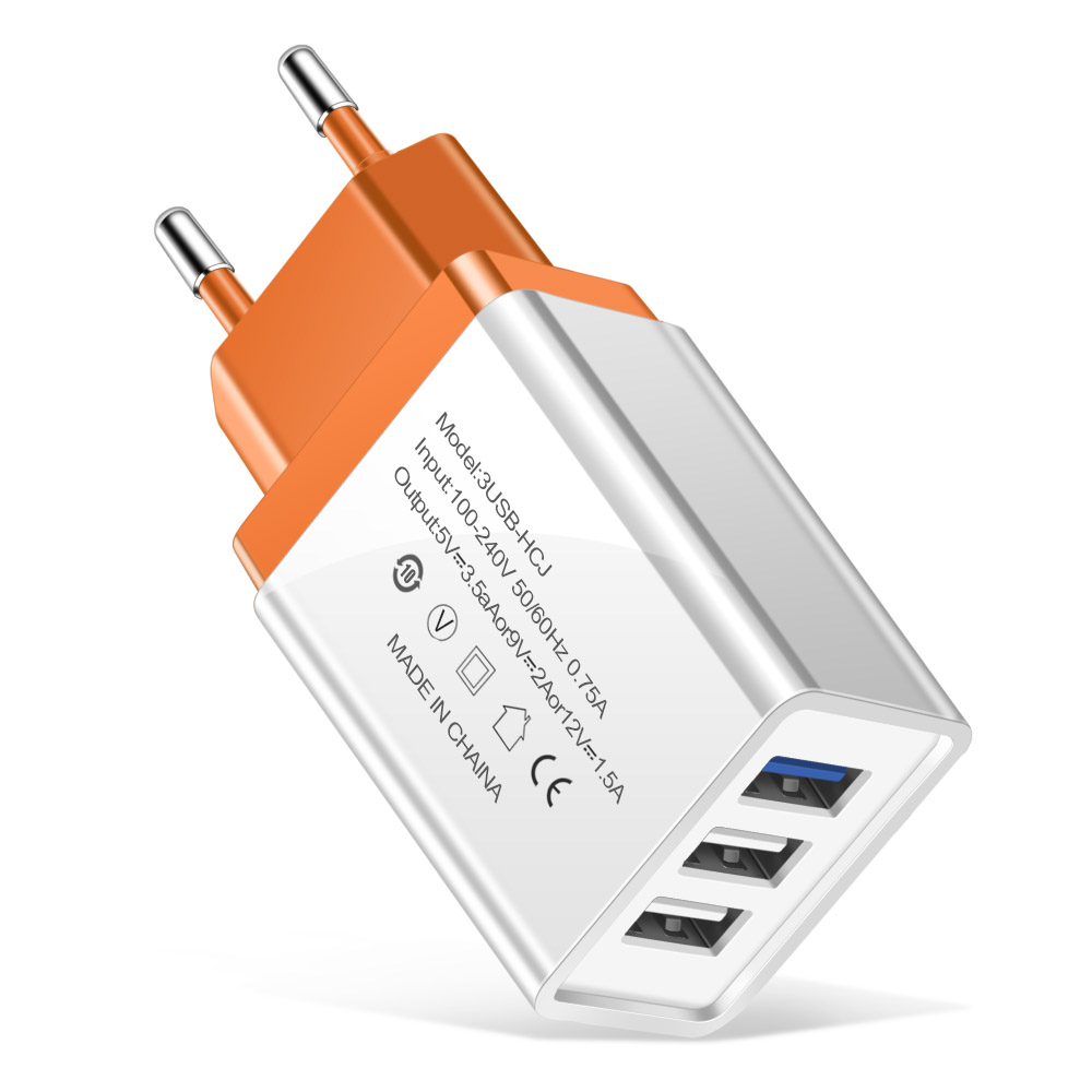 eu plug charger orange