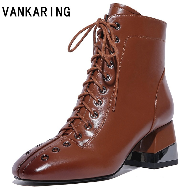 VANKARING large size 43 genuine leather ankle boots square toe thick high heel women boots brand shoes riding winter boots women free shipping 2013 genuine leather high heel casual cotton padded shoes plus size 40 43 boots thick heel women s boots z476