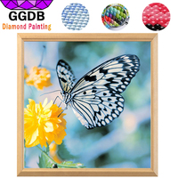 GGDB 5D DIY Diamond Painting Resin Square Black And White Butterfly With Mosaic Flower Pattern Canvas