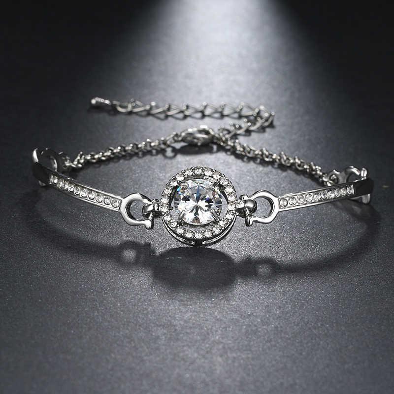Emmaya 8 Warna Kristal Sederhana Fashion Gelang Rantai untuk Wanita Pulseira Feminina Perhiasan Gelang