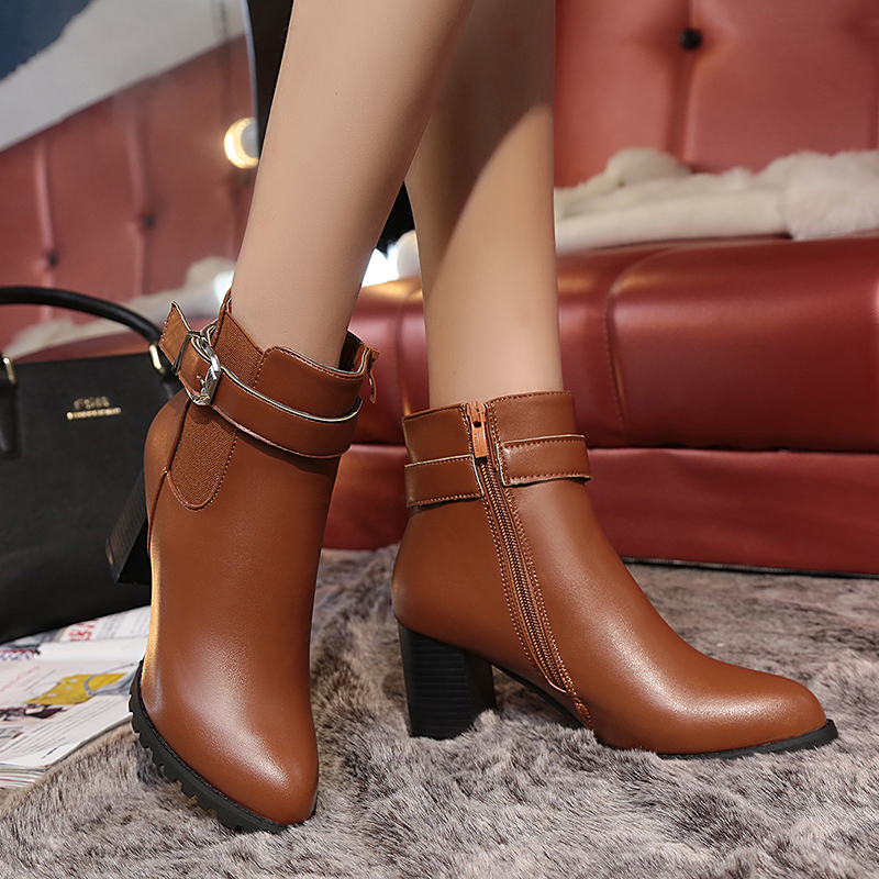 Fashion Women Ankle Boots High Heel Autumn Shoes Female Pointed Toe Zipper Buckle Ladies Shoe Brand Martin Boot Woman Size 35-40