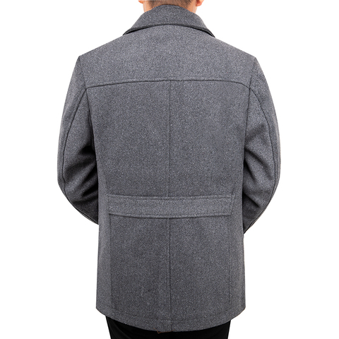 2019 New Arrival Autumn High Quality Wool Grey Casual Trench Coat Men Mens Winter Black Gray Business Wool Jackets M-XXXL Lahore