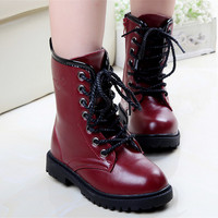 1Pair Girl Cool Punk Ankle Martin Boots Quality PU Leather Baby Girls Shoes Mid Calf Combat