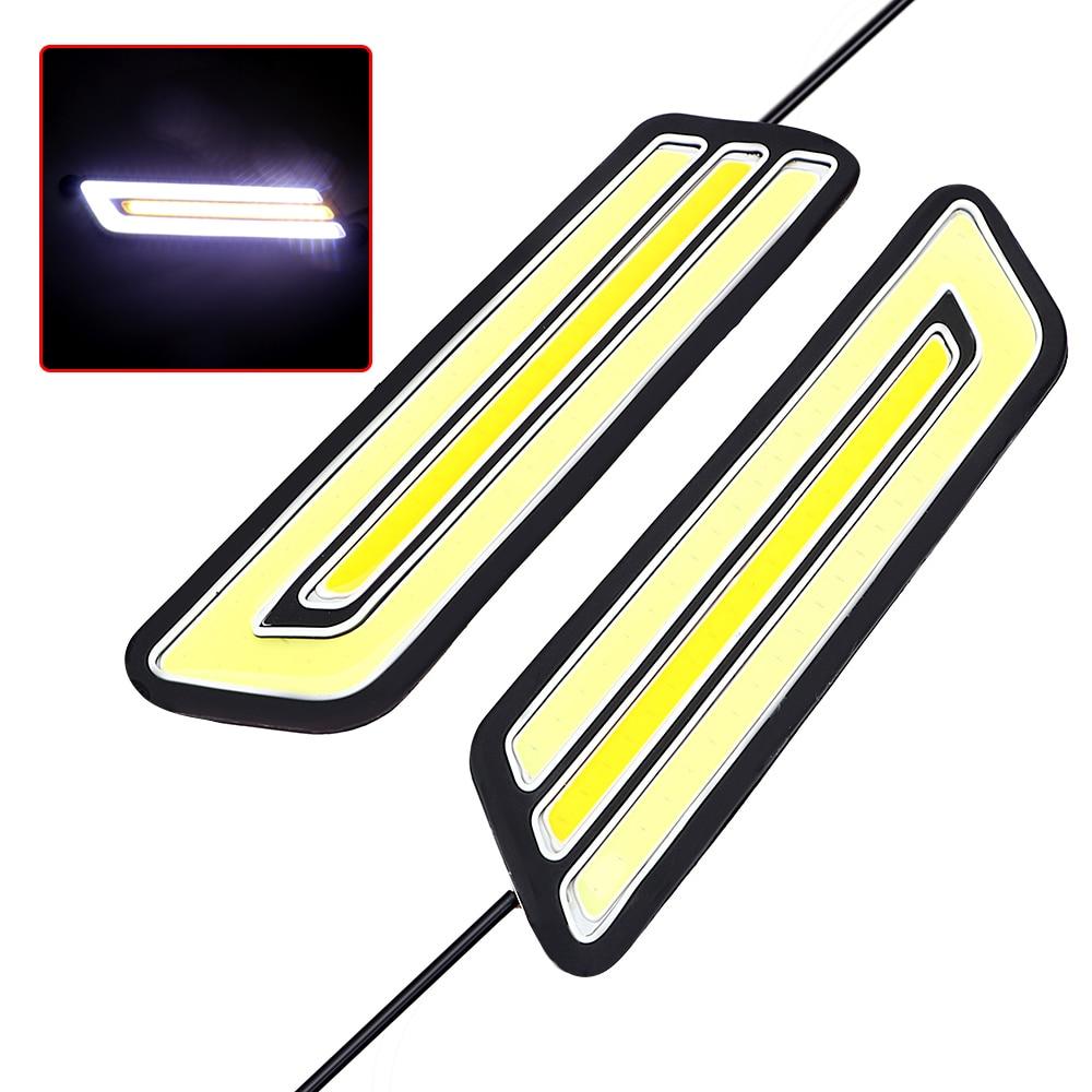 1 Pair Flexible LED Car DRL Daytime Running Light Fog Lamp Super Bright Auto Turn Signal Lamps Waterproof Reversing Light COB
